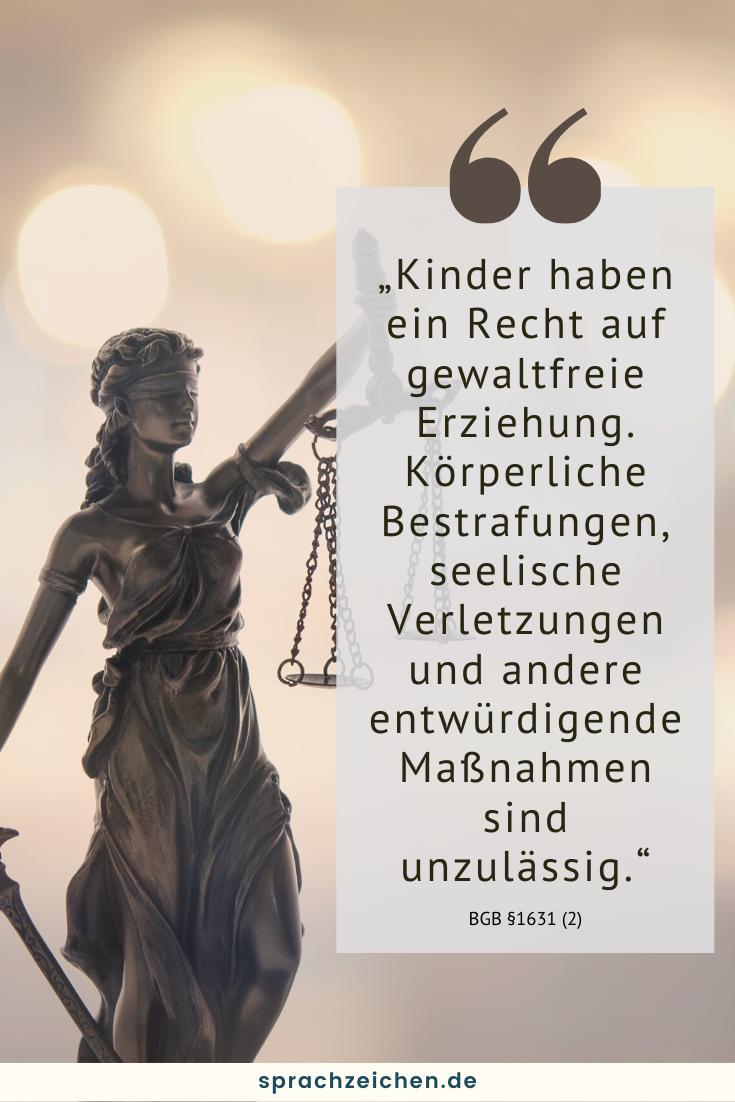 Justizia mit Zitat zu Kinderrechten